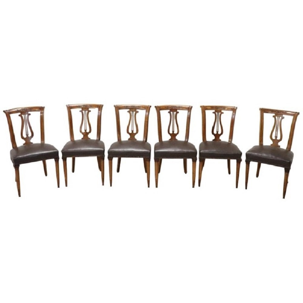 Set of 6 Vintage Carved Walnut Chairs, 1950s