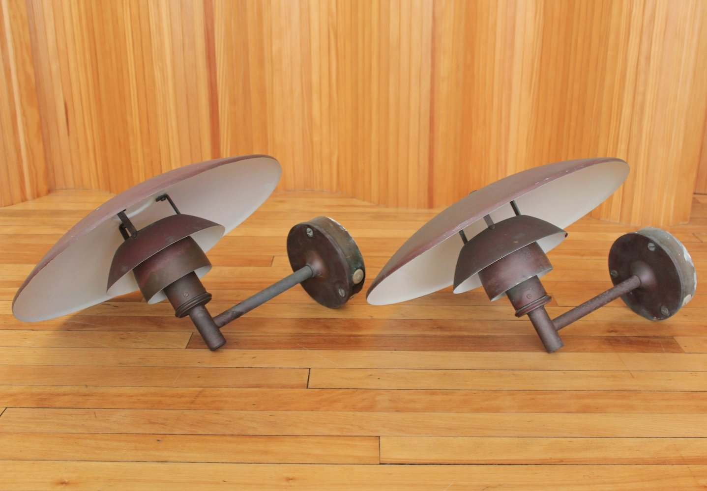Pair of Poul Henningsen PH4.5/3 copper outdoor wall lights by Louis Poulsen