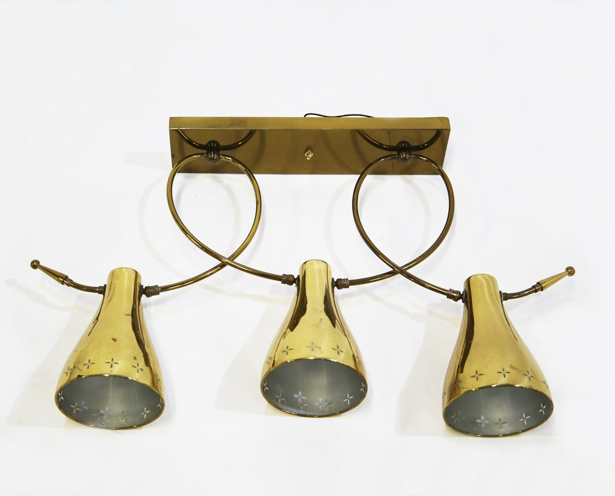 Pendant lamp in brass by Paavo Tynell for Lightolier, 1940s