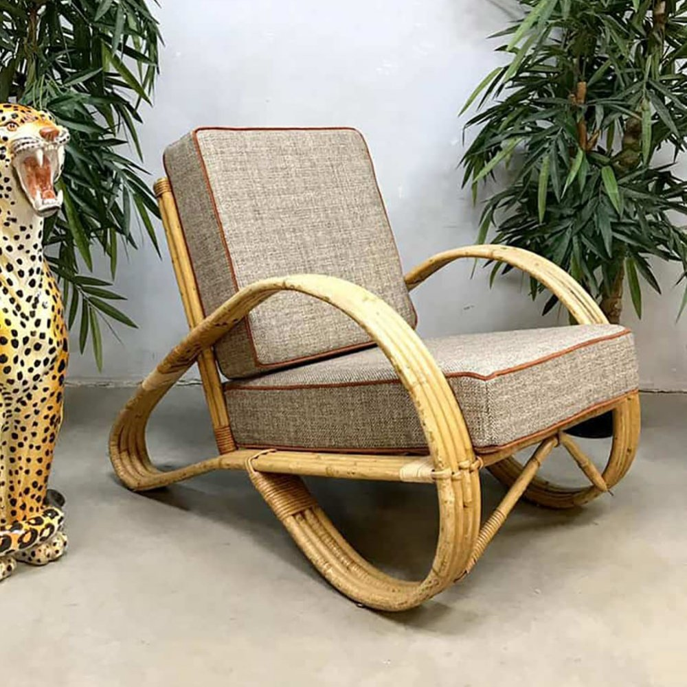 Vintage design rattan lounge chair by Rohé Noordwolde