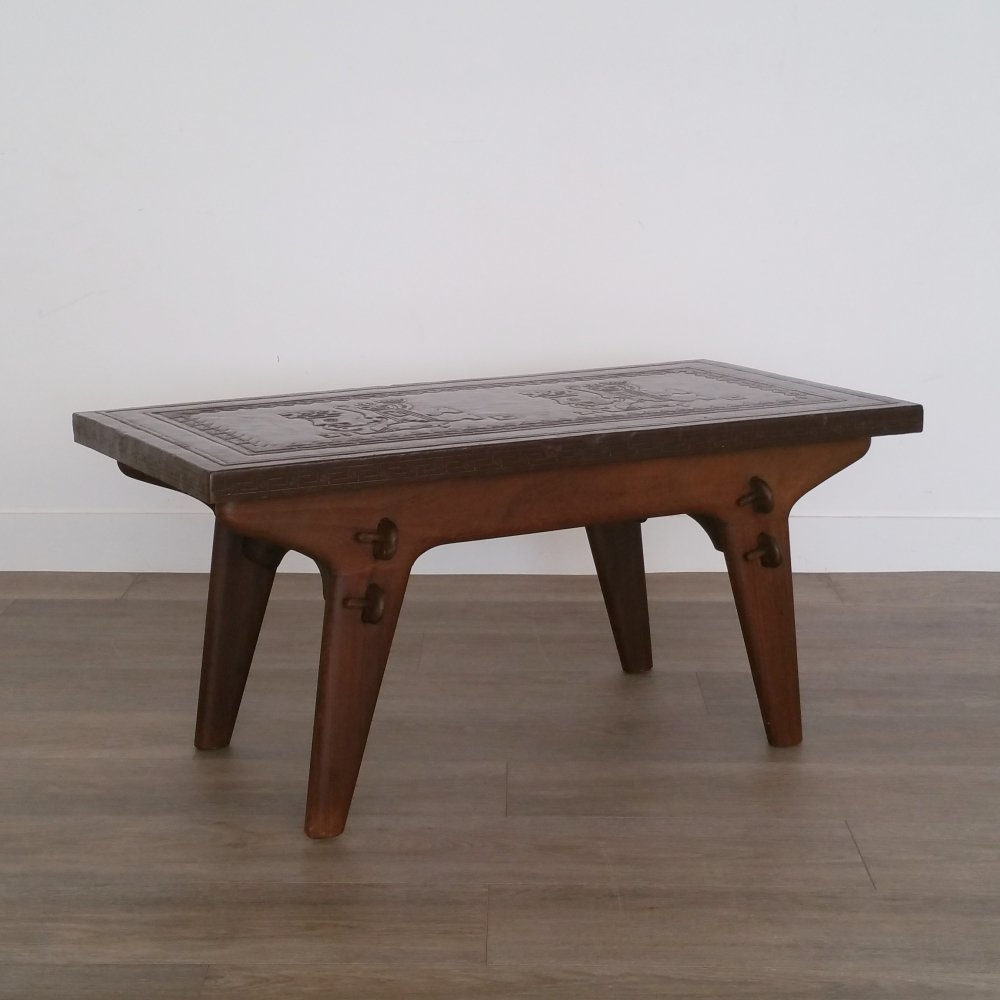 Wood & Leather Coffee Table by Angel Pazmino for Meubles de Estilo, 1960s