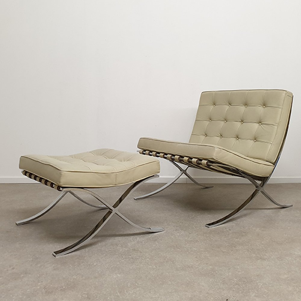 Barcelona Chair with Ottoman by Mies Van Der Rohe for Knoll International & Barcelona Chair with Ottoman by Mies Van Der Rohe for Knoll ...
