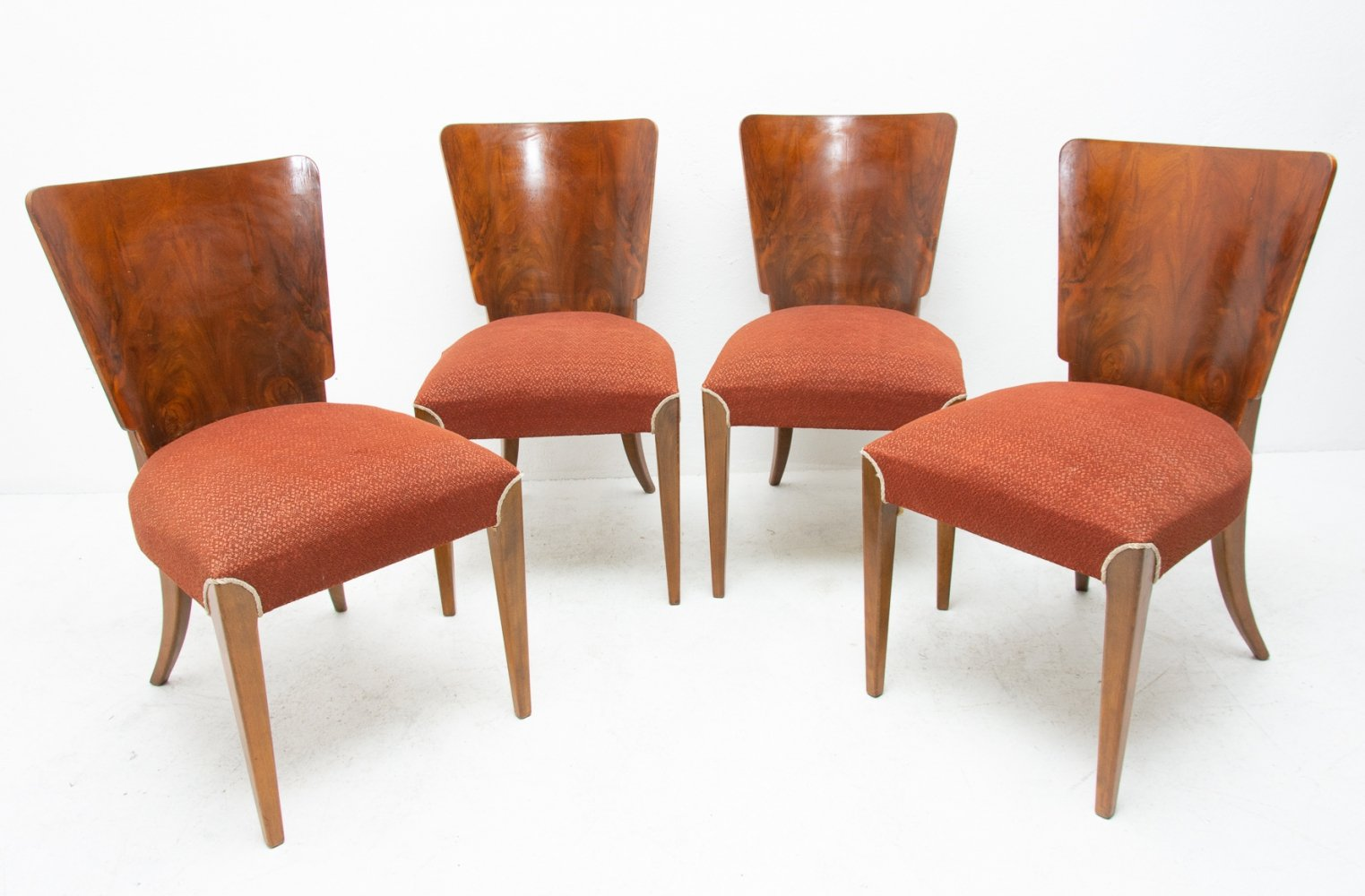 Set of 4 H-214 dining chairs by Jindřich Halabala for UP Závody, 1950s