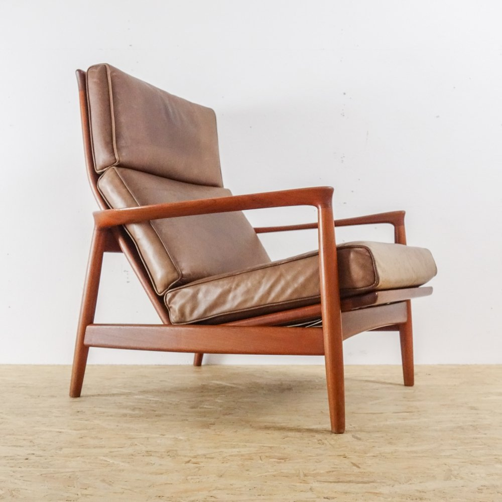 Teak & Leather Lounge chair by Folke Ohlsson for Dux