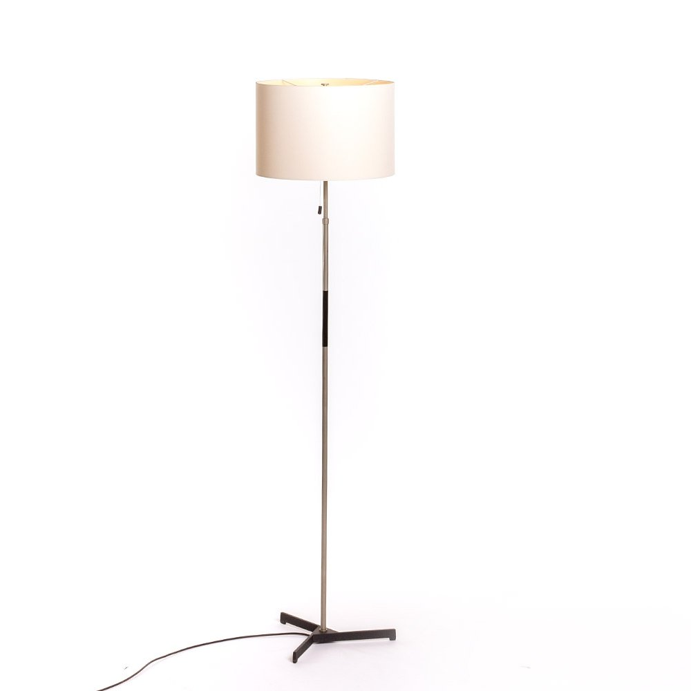 Vintage German floorlamp with fabric shade & cast iron geometrical base