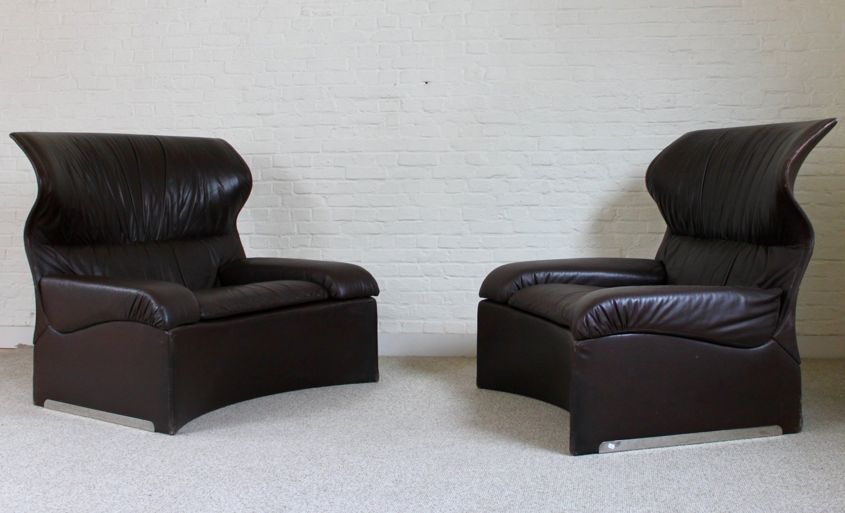 Set of 2 Vela Alta lounge chairs by Giovanni Offredi for Saporiti