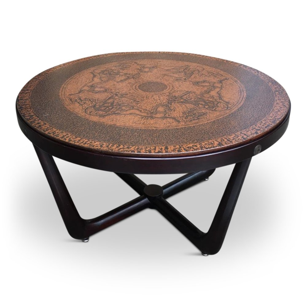 - Copper & Wood Egyptian Themed Coffee Table By Vad Trevare, Norway