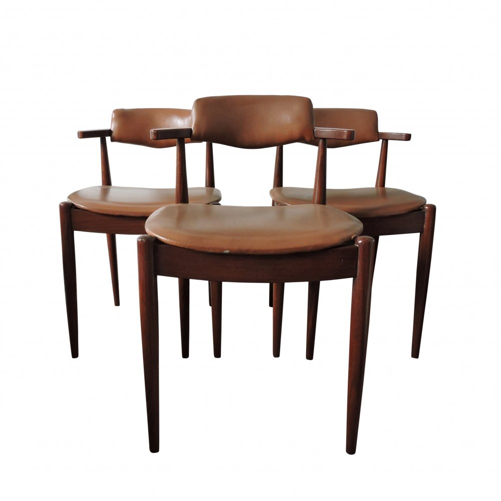 Set of 3 Mid-Century Dark Teak & Faux Leather Dining Chairs