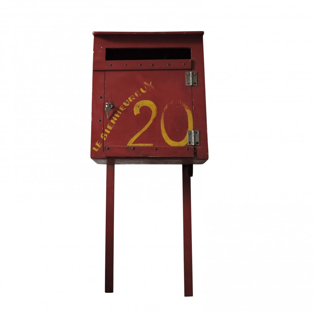 Vintage French Red Painted Post Box, 1930s