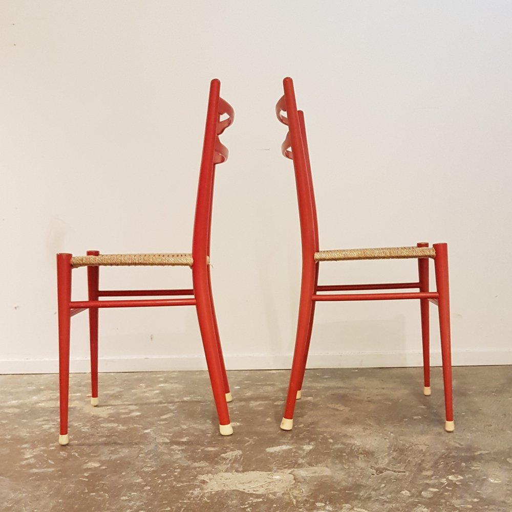 Two red ashwood dining chairs by Topform, 1970s