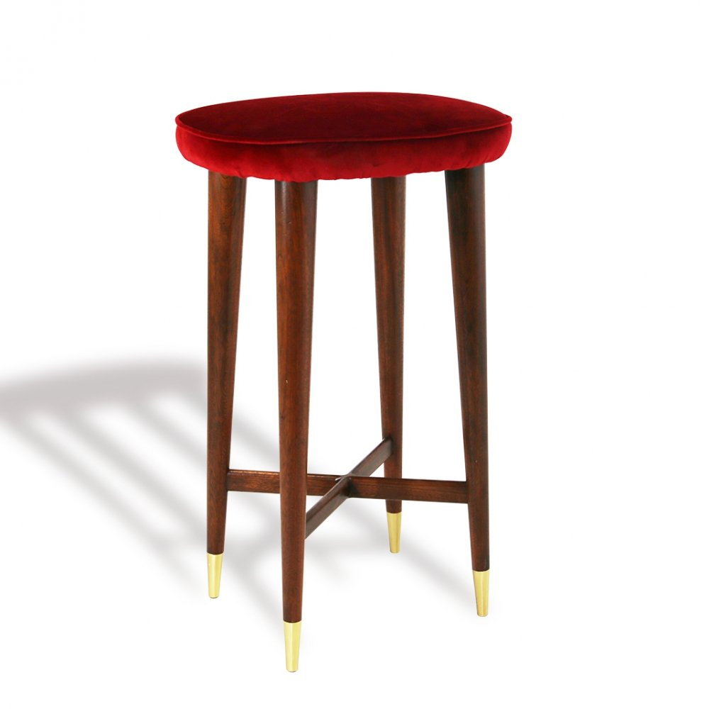 Set of 8 Stools with brass ferrule, Italy 1950s