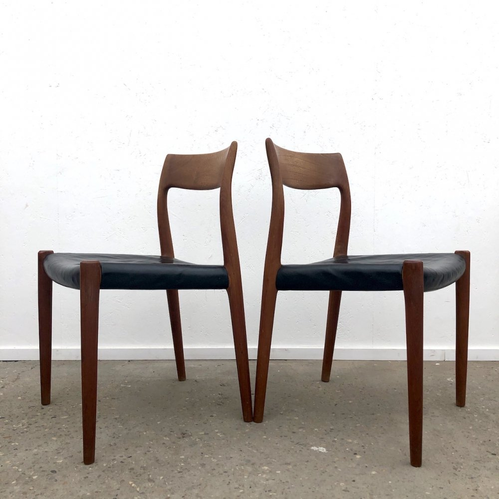 Pair of Niels Otto Møller model 77 dining chairs with leather upholstery