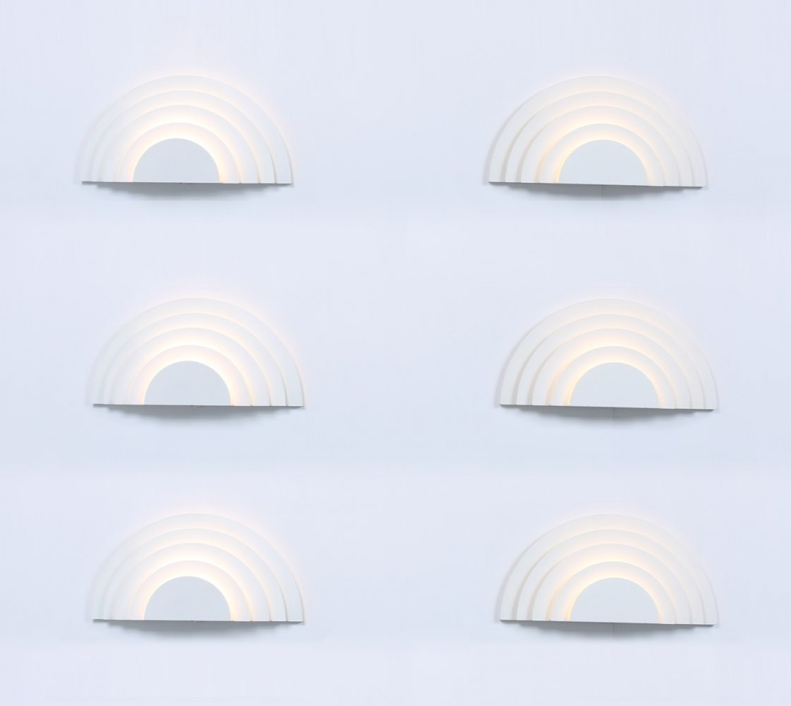 Set of 6 Meander wall lamps by Cesare Casati & C. Emanuele Ponzio for Raak Amsterdam, 1970s