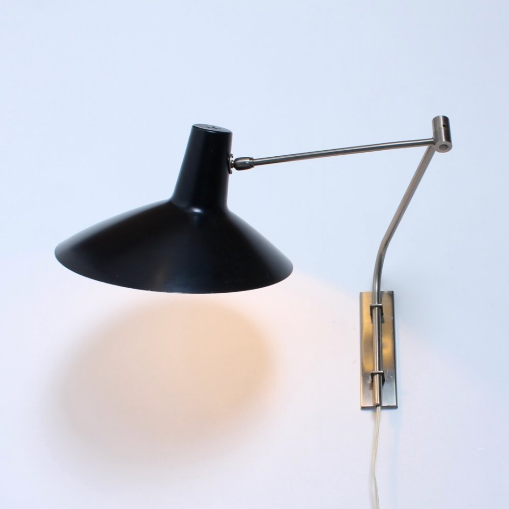 Black fifties swinging elbow arm wall light by Artimeta