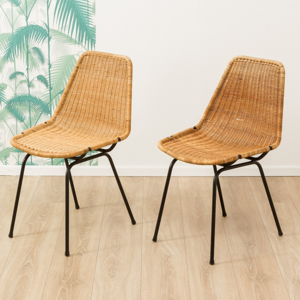 Set of 2 wicker chairs, 1950s