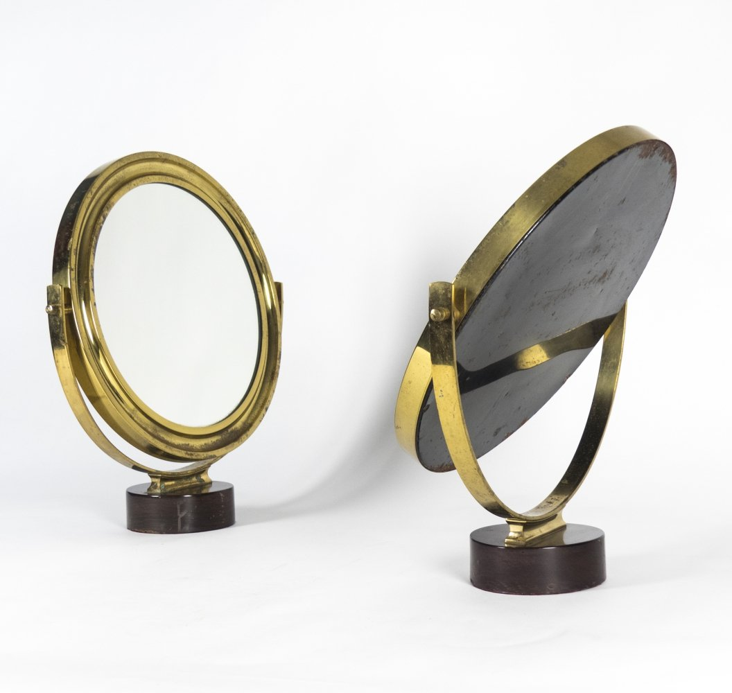 Pair of Brass & Rosewood Table Mirrors by Sergio Mazza, 1960s