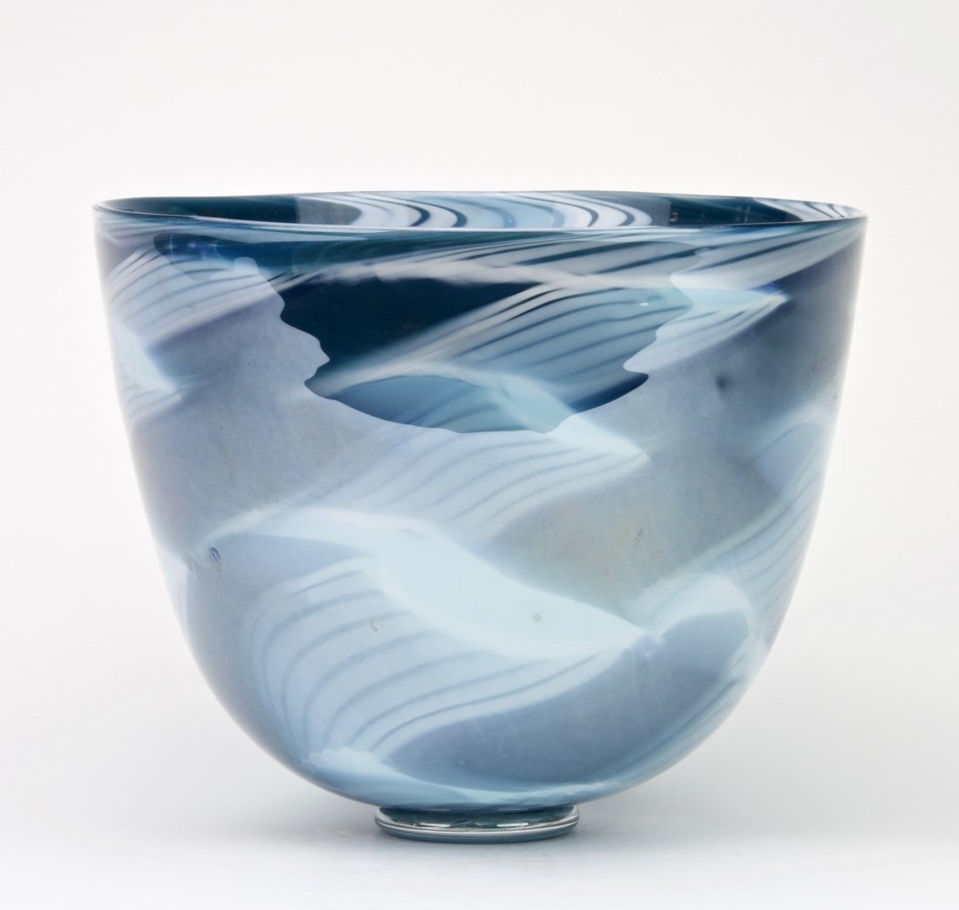 Vase with blue decoration by Charlie Meaker, 1984