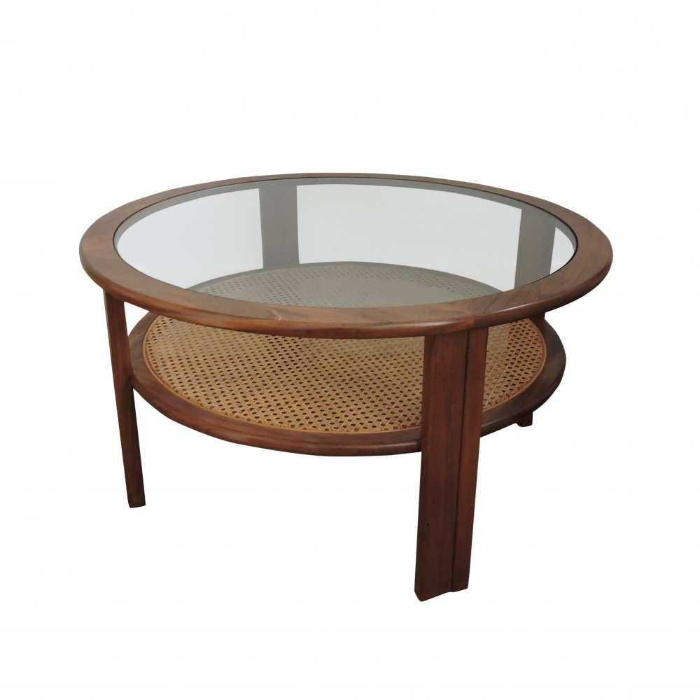 Teak G-Plan Coffee Table with Cane Shelf, 1970s
