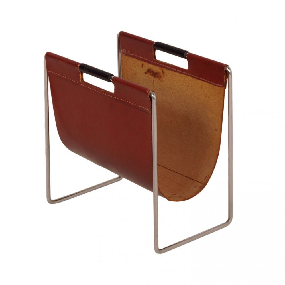Brown Leather Magazine Holder by Brabantia, 1970s