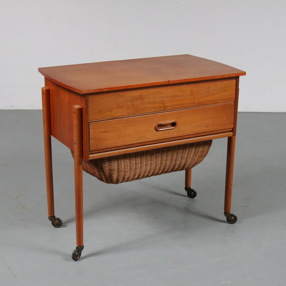 Teak sewing table, the Netherlands 1950s