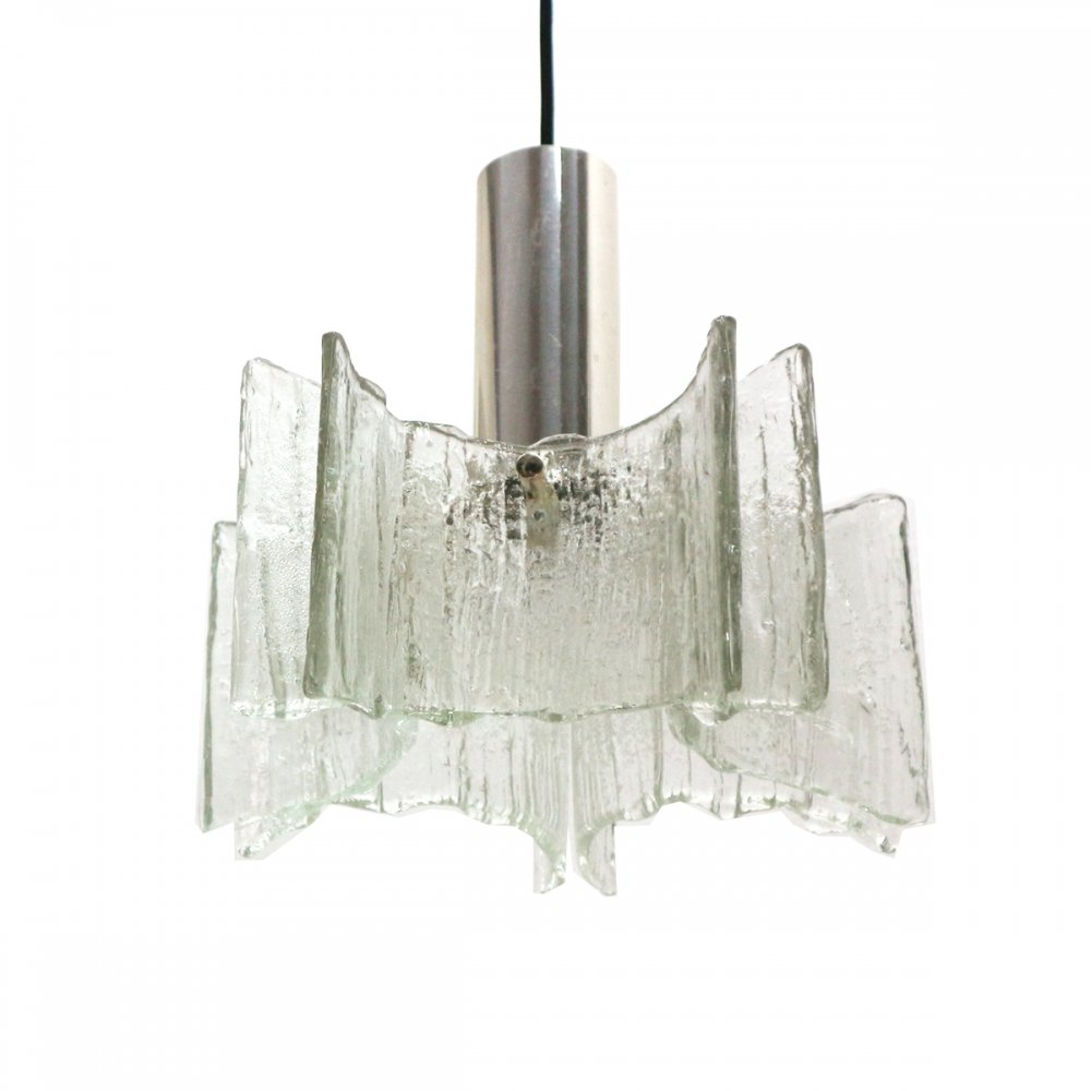 4x Classic 1970s Ice Glass Pendant Lamp by Kaiser, Germany