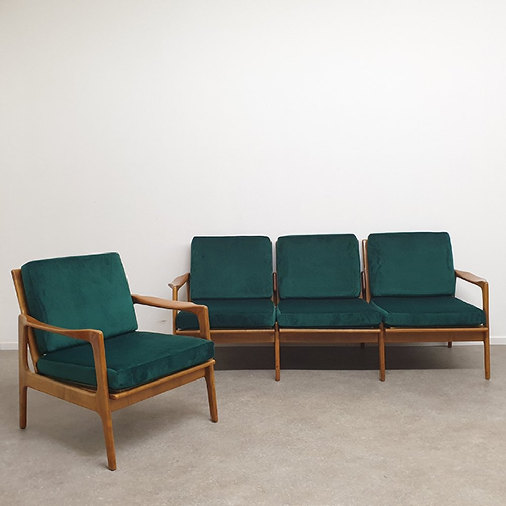 Vintage Design set with Velvet Upholstery, 1960s