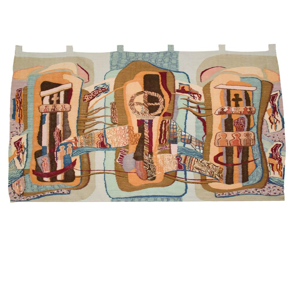 Large Hand-knotted wall tapestry, 1980s