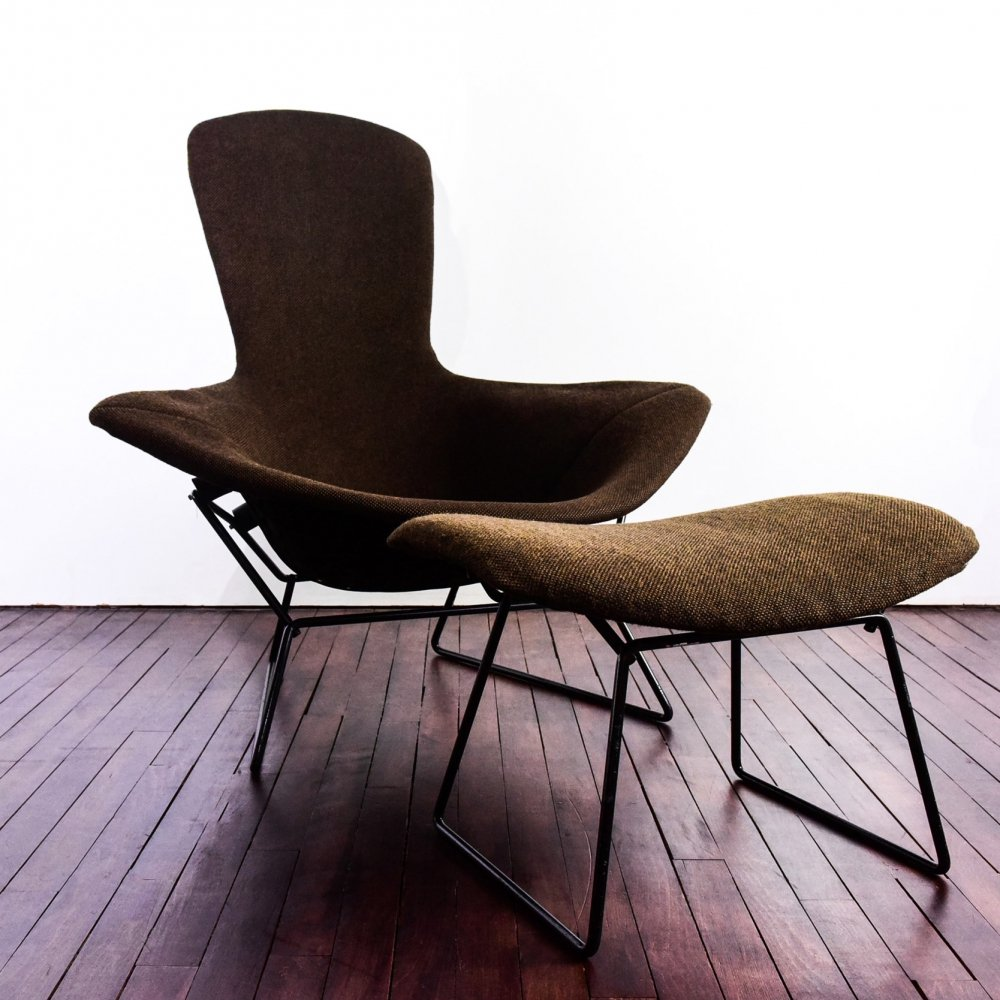 Bird Chair with ottoman by Harry Bertoia for Knoll International
