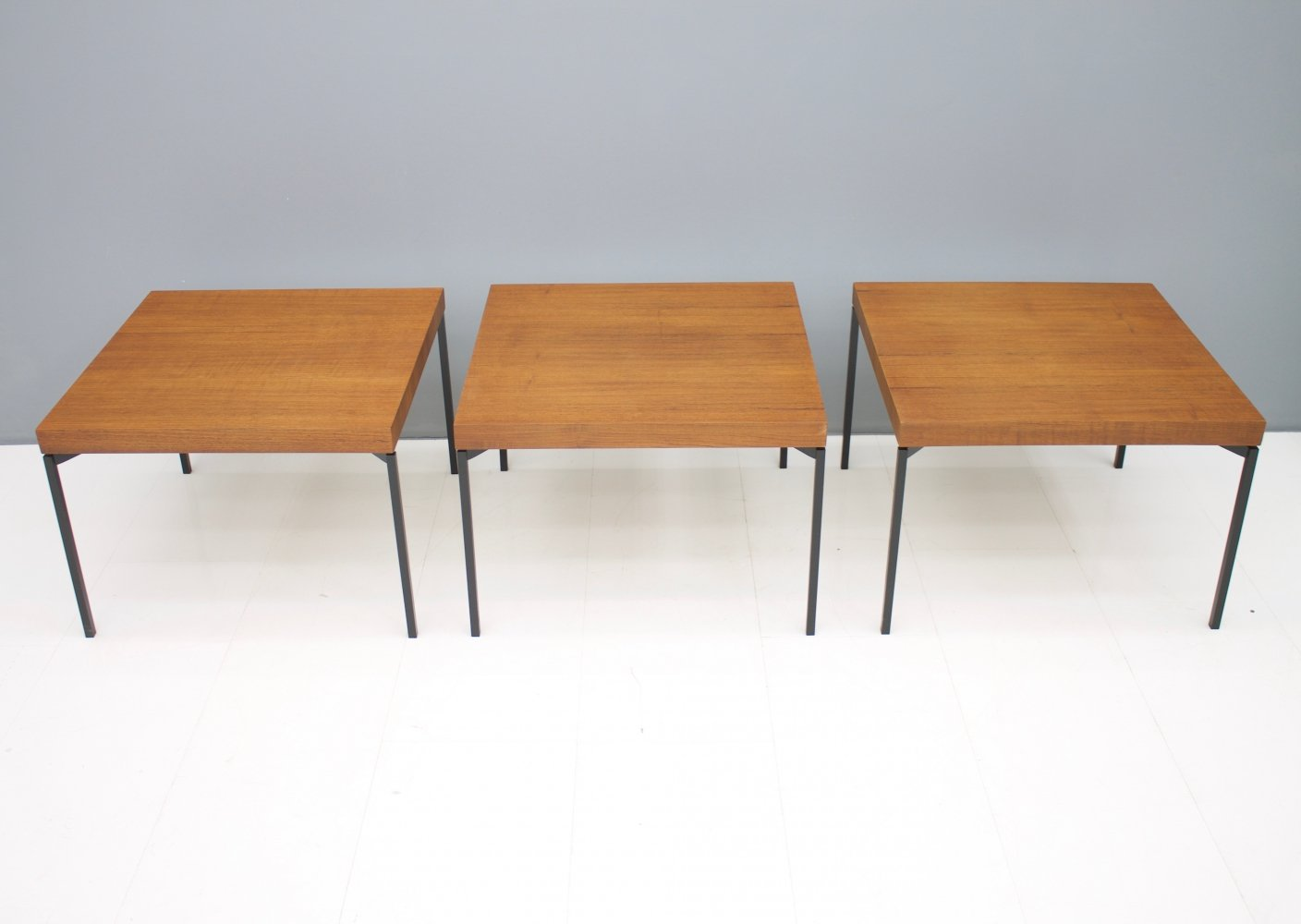 Set of Three Teak & Metal Side or End Tables, 1950s