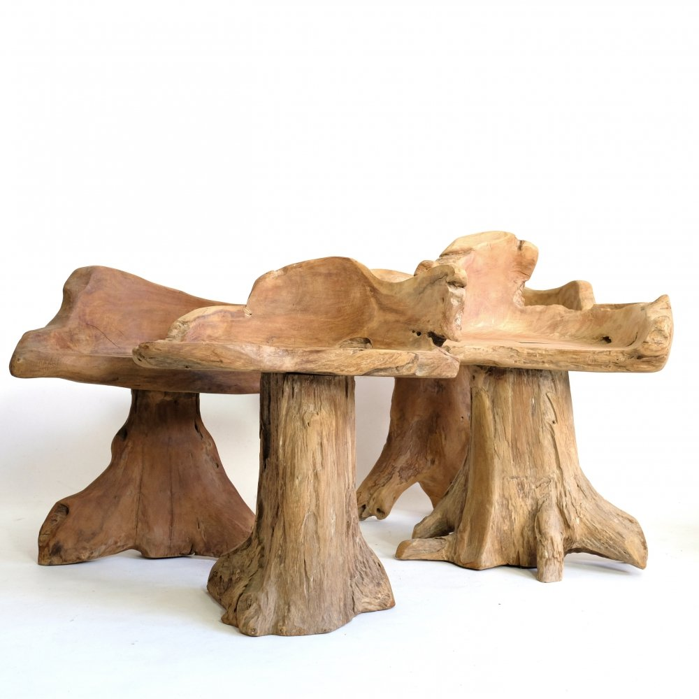 Sculptural chair made of natural wood, 1980s