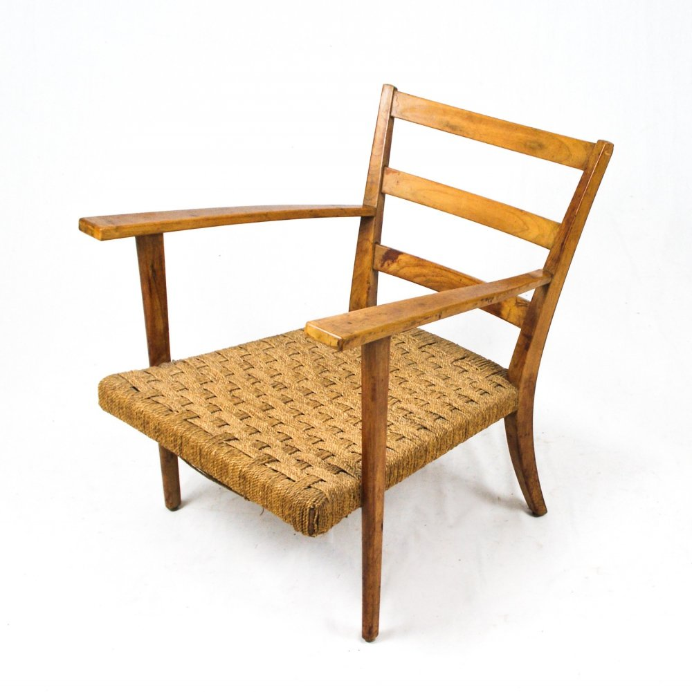 Italian lounge chair with rope seat, 1950s