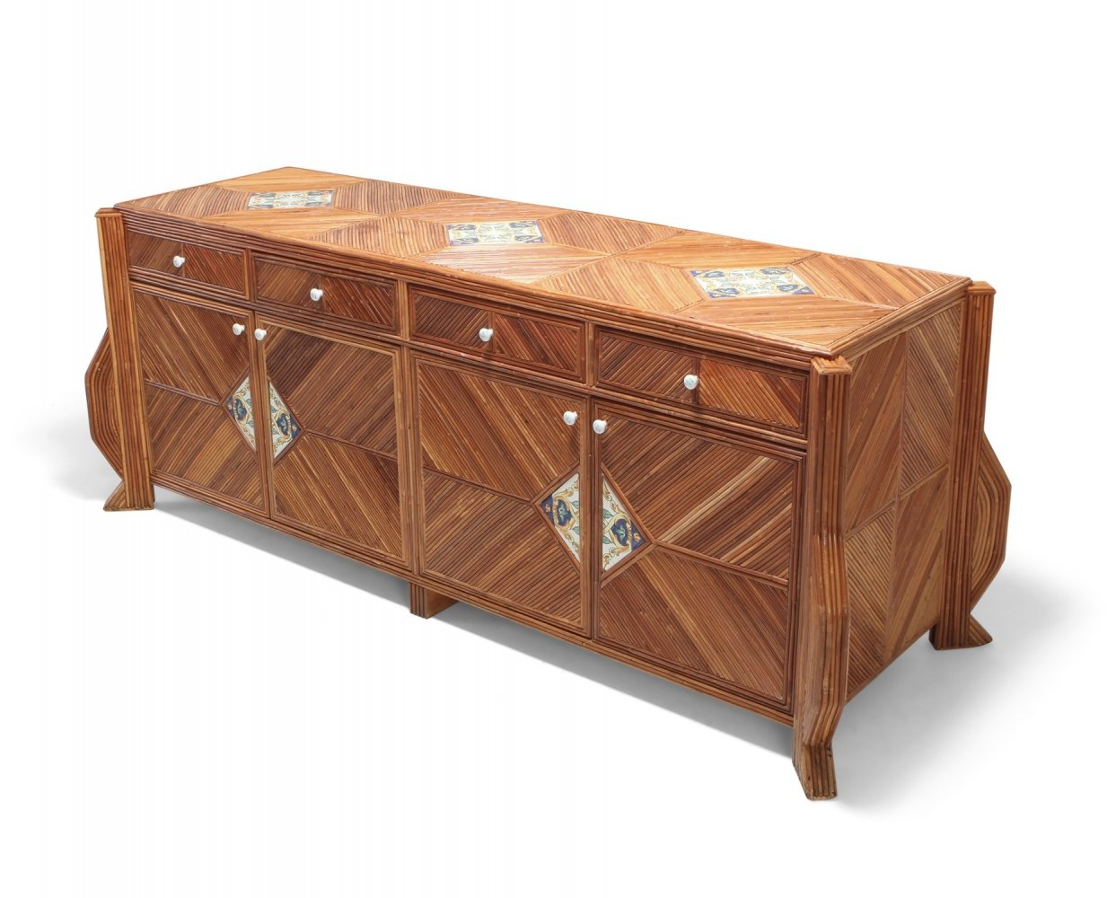 Double Face Credenza In Bamboo & Ceramic by Vivai Del Sud, 1970s