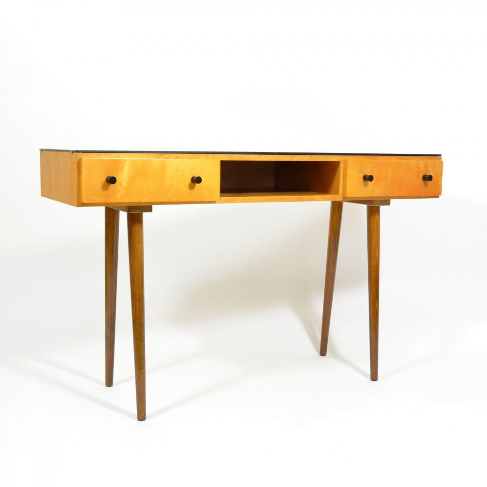 Mojmir Pozar Dressing Table With Black Glass, 1970s