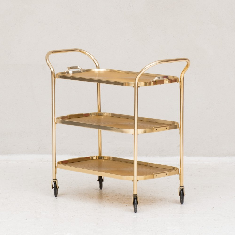 Gold-coloured aluminium trolley by Kaymet, UK 1960