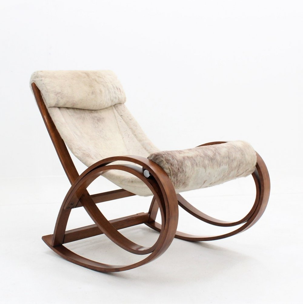 Vintage Sgarsul rocking chair by Gae Aulenti for Poltronova, 1960s