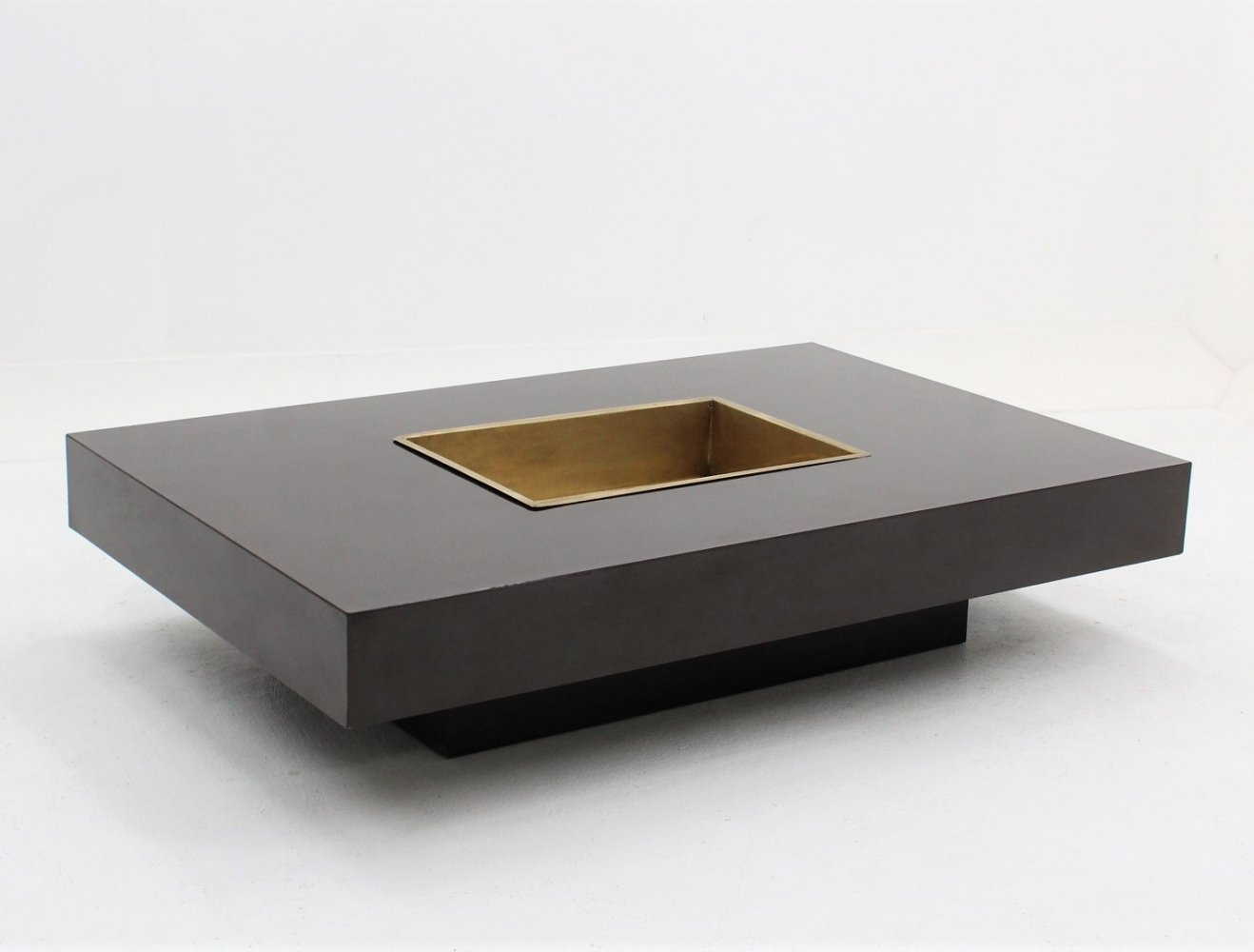 Willy Rizzo Laminate & brass coffee table with bar, 1970s
