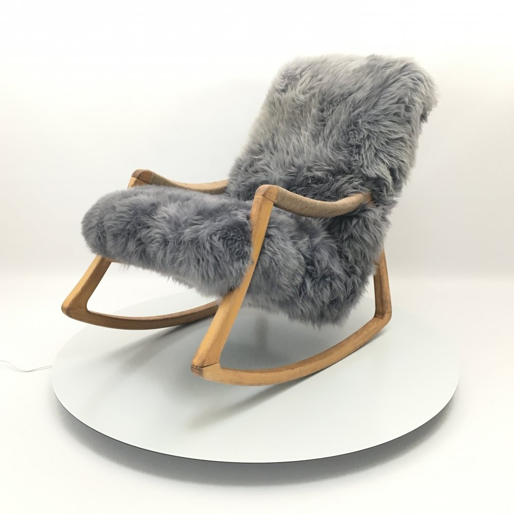 Vintage Design Art Deco Sheepskin Fluffy Bentwood Rocking Chair by Ton