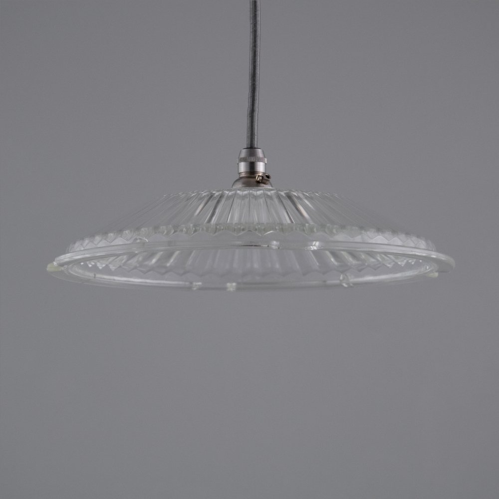 Vintage French Holophane Glass pendants