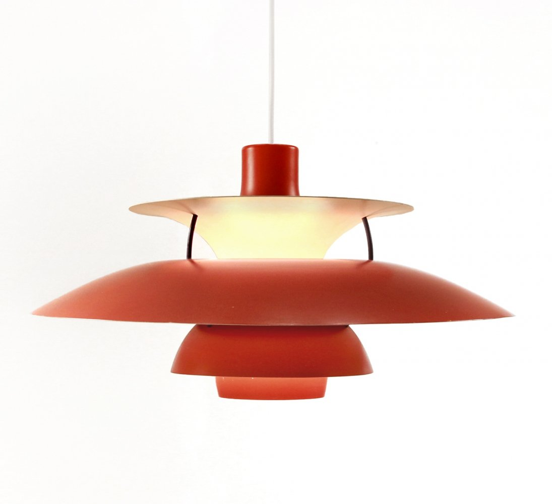 Red Danish design PH5 pendant by Poul Henningsen for Louis Poulsen