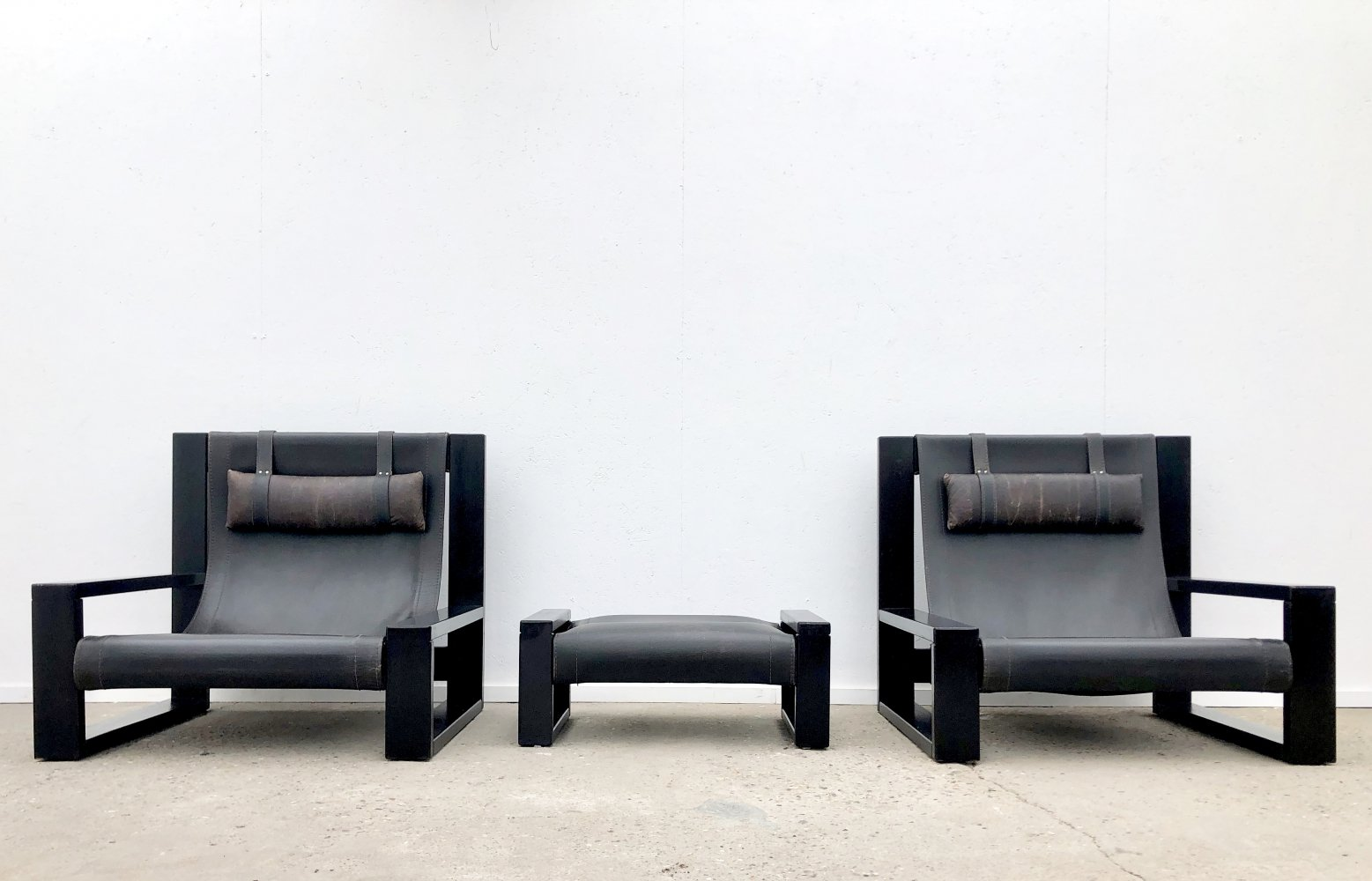 Pair of Brutalist armchairs by Sonja Wasseur, 1980s