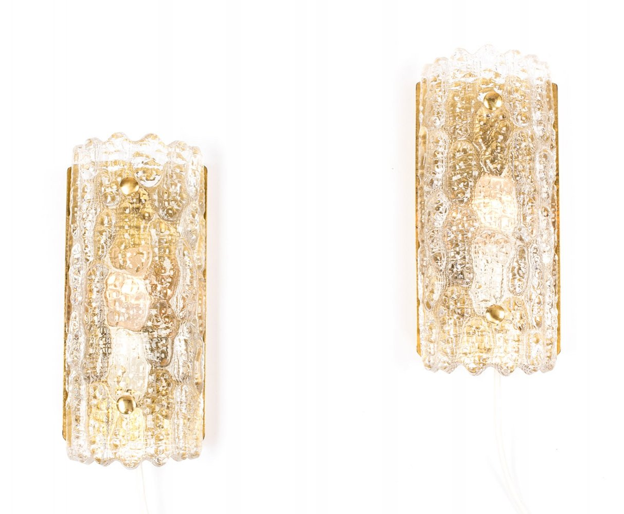 Vintage glass & brass sconces by Carl Fagerlund for Orrefors