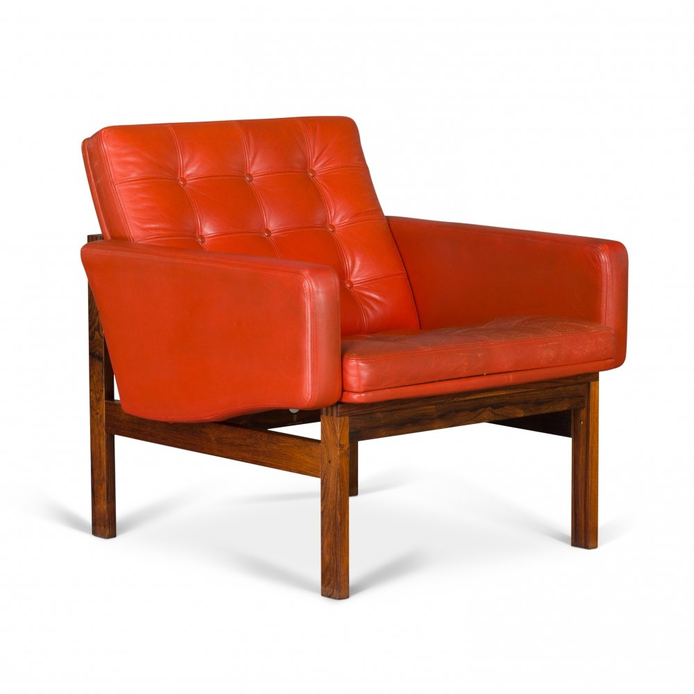 Red Leather Moduline Lounge Chair by Ole Gjerlov-Knudsen for France & Søn, 1962