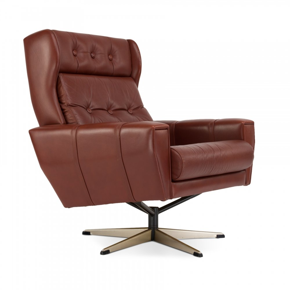 Mid-Century Danish Swivel Chair in Brown Leather from Lystager Industri, 1960s