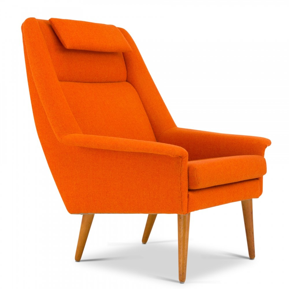 Orange mid-century Danish Lounge chair by Folke Ohlsson