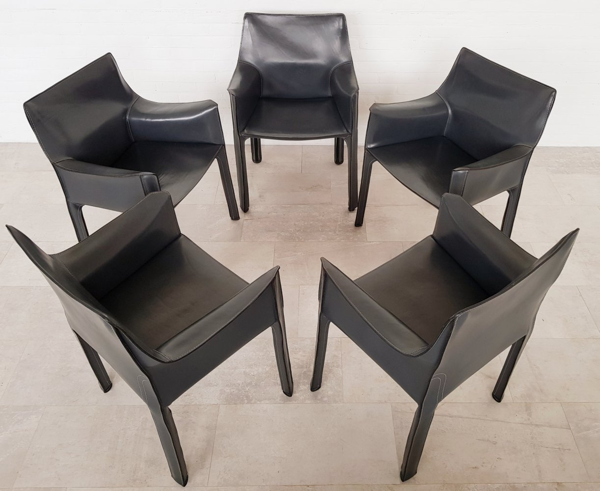 Set of 5 Cassina CAB413 dark grey dining chairs by Mario Bellini, 1980s