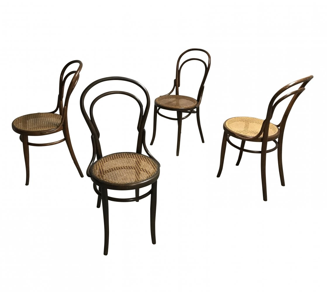 Set Of 4 Thonet No 14 Dining Chairs By J J Kohn 1950s 102711