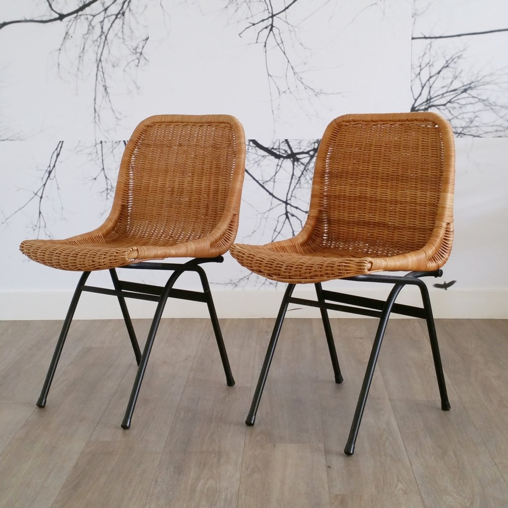 Set of 2 Rattan Dining Chairs by Dirk van Sliedregt for Rohé Noordwolde, 1960s