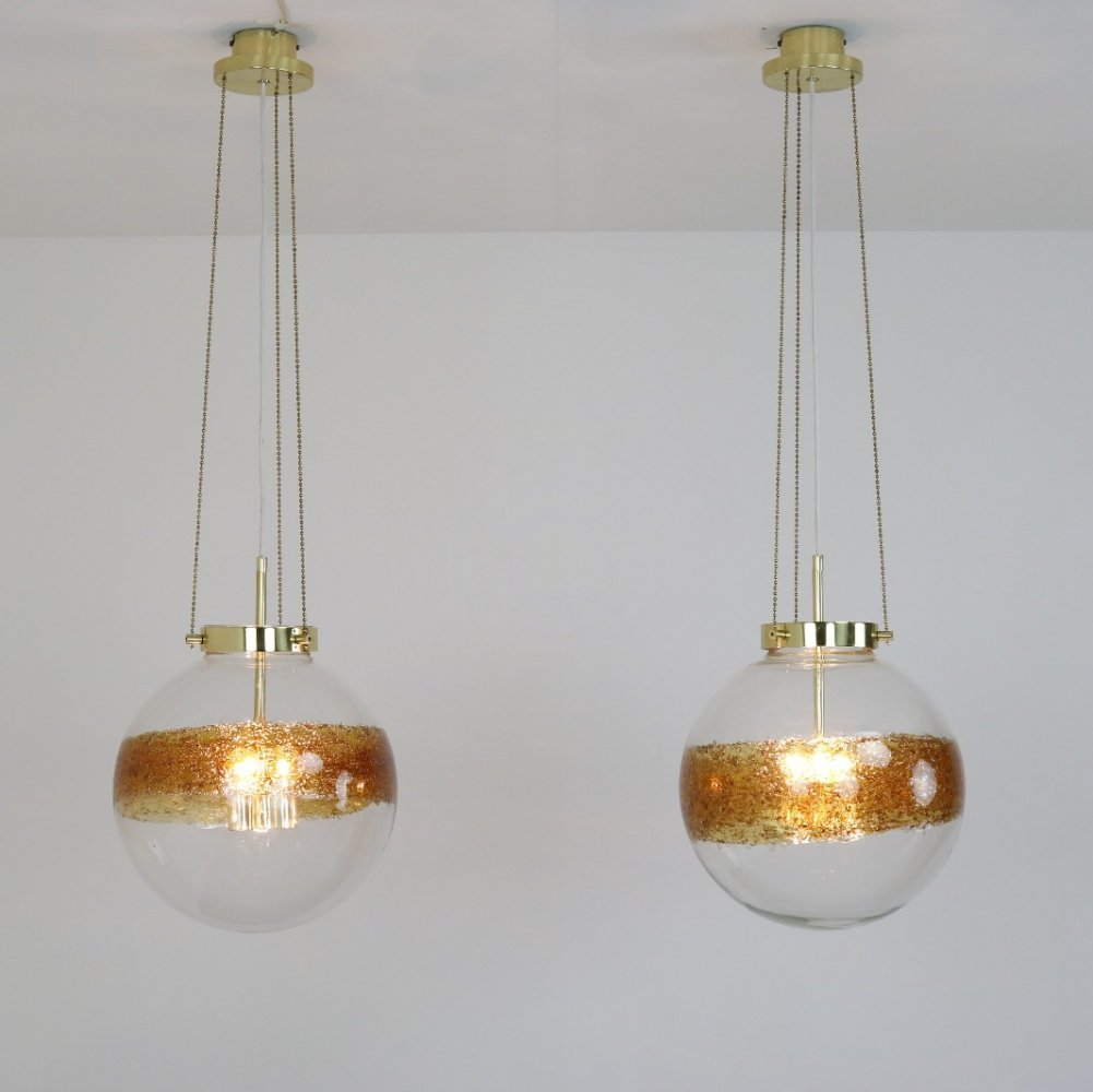 Pair of large murano glass & brass hanging lamps by Kaiser Leuchten, 1970s