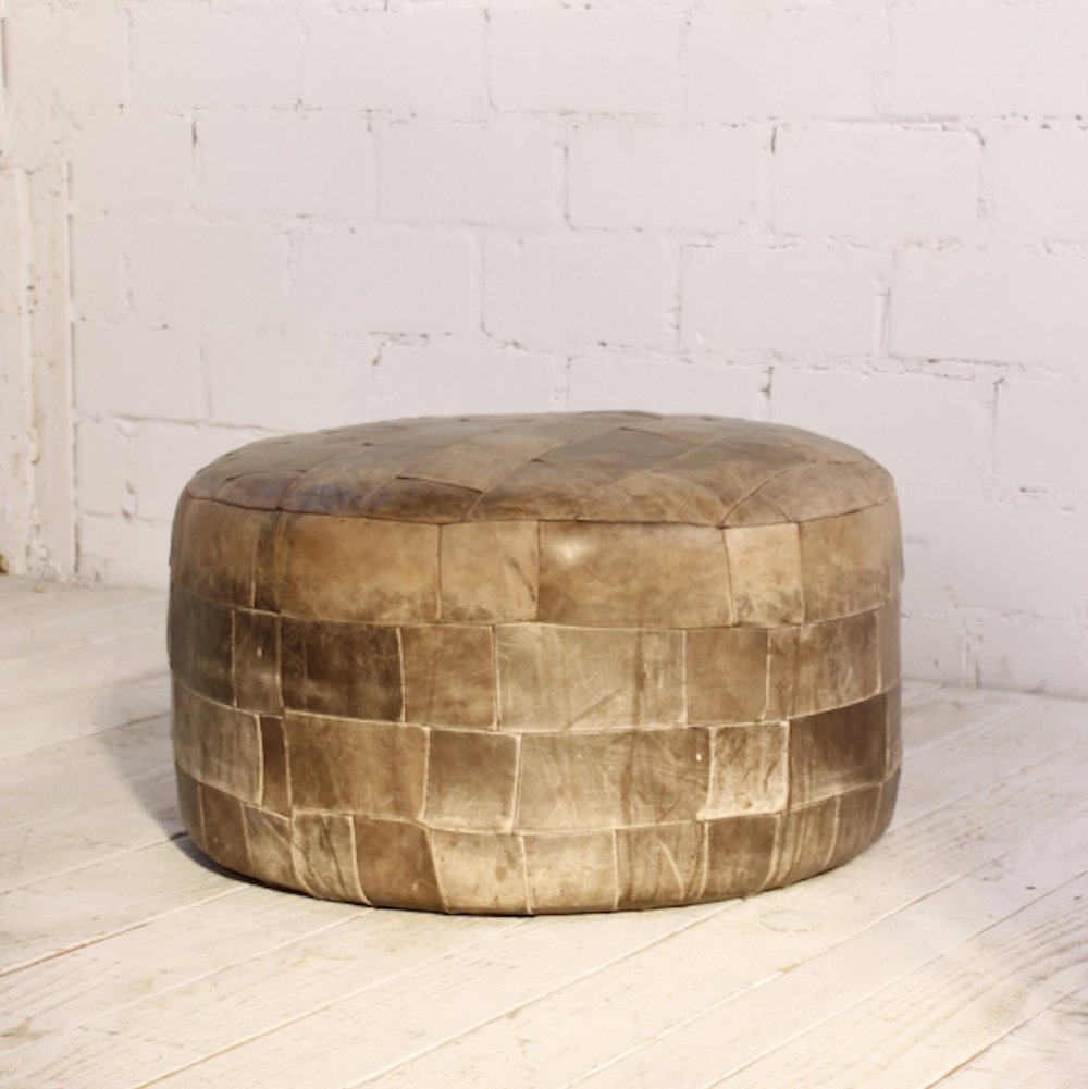 Vintage Patchwork Leather Pouf