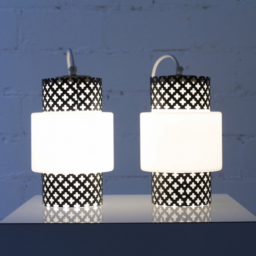 Set of French Hanging Lamps in black & white